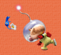 Olimar throws Blue Pikmin P2 clay art.png
