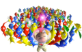 Olimar and many Pikmin P1 art.png